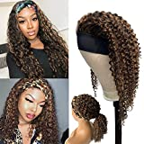 Deep Curly Headband Human Hair Wigs Brazilian Wave Scarf Wig 12 Inch Black With Medium Auburn Highlights Balayage Wig Glueless Machine Made 150 Density With 3 Free Random Headbands Retro Style #1BP30