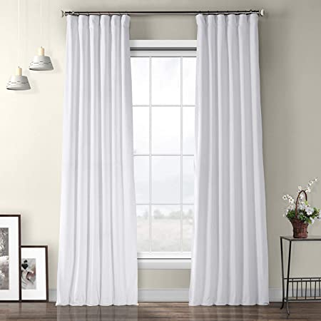 Amazon Com Hpd Half Price Drapes Vpyc 161201 96 Plush Velvet Curtain 1 Panel 50 X 96 Pillow White Home Kitchen