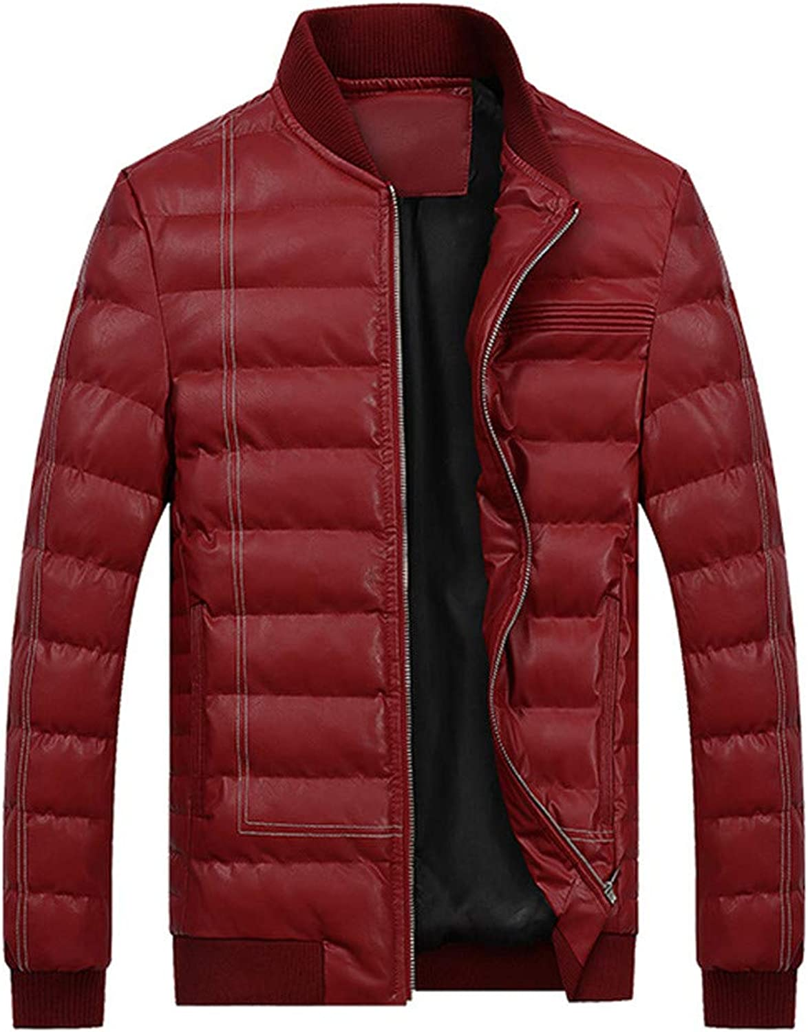 Men's Winter Coat Thickening Stand Collar Zipper Leather Jacket Cotton Padded Coat (color   Red, Size   2XL)
