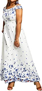 zhxinashu Women's Loose Long Maxi Dress - Ladies Floral Printing Cocktail Gown