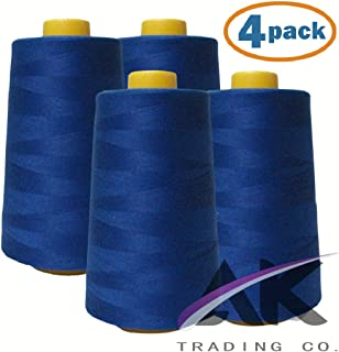 AK Trading 4-Pack Royal Blue All Purpose Sewing Thread Cones (6000 Yards Each) of High Tensile Polyester Thread Spools for Sewing, Quilting, Serger Machines, Overlock, Merrow & Hand Embroidery