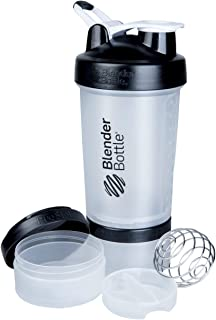 BlenderBottle ProStak System with 22-Ounce Bottle and Twist n' Lock Storage, Clear/Back
