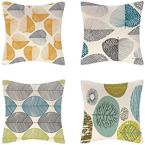 IWILCS 4er Set Deko Kissenhüllen leinen Zierkissenbezug Deko Wurfkissenbezug Outdoor Kissenhülle dekokissen kissenhülle Blatt Muster für Couch Bett 45×45