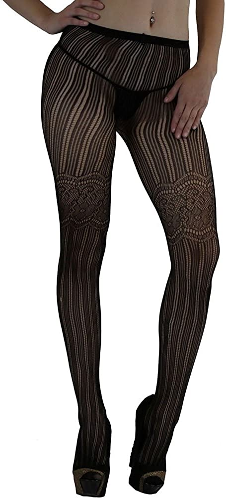 ToBeInStyle Women's Net Spandex And Floral Design Full Footed Pantyhose