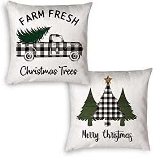 JYNHOOR Set of 2 Christmas Decorative Throw Pillow Covers – 18x18 Inch Buffalo Black&White Plaid Farmhouse Truck Christmas Tree Pillow Covers for Home Decor-Decorative Christmas Cushion Cover