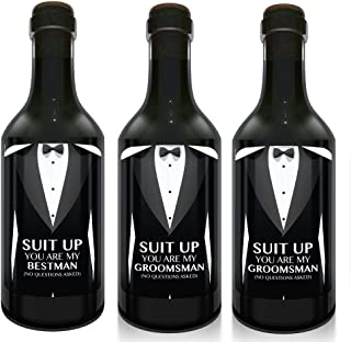 """""""Suit Up!"""" Mini Wine Bottle Label Stickers 