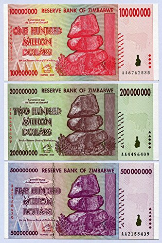 Zimbabwe 100 200 500 Million Dollars 2008 P80-P82 UNC Currency Bills