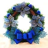 人工花の花輪、家庭用装飾品、クリスマスリース、弓、クリスマスデコレーションパーティー、クリスマスデコレーション、リース-ブルー45cm(15.75inch)by YYWJ