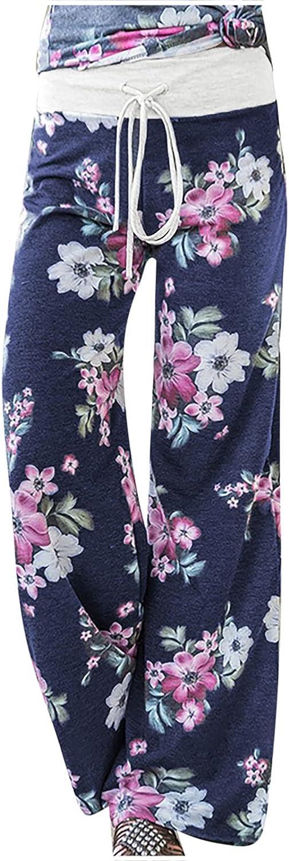 MIVAMIYA Yoga Pants with Pockets for Women Floral Print Comfy Palazzo Boho Pants Smocked Waist Wide Leg Pajamas Trousers