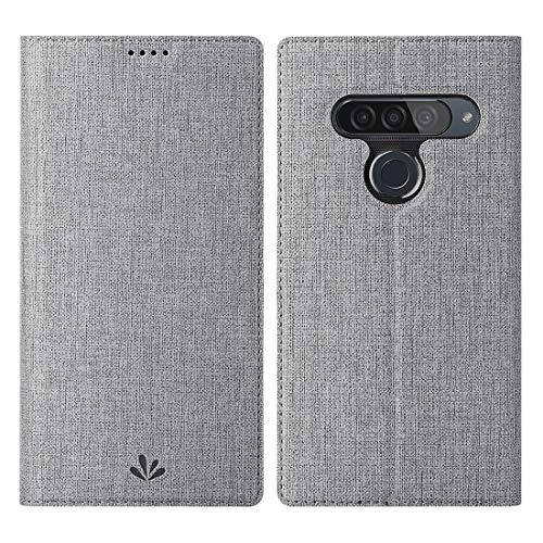 Eastcoo LG G8s ThinQ Hülle,LG G8s ThinQ Wallet Handyhülle PU Leder Flip Hülle Tasche Cover Schutzhülle mit [Standfunktion][Magnetic Closure][Card Slots] für LG G8s ThinQ Smartphone,Grau