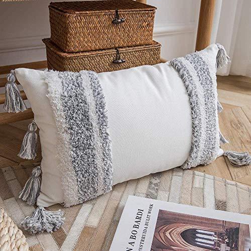 Mocofo - Federa per cuscino con frange e frange, in tessuto bianco crema, bianco e grigio