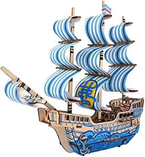 3D DIY Jigsaw Puzzle Pirate Ship Model Sailing Boat Model, Sailboat Wood 3-D Puzzles Toy Handicraft for Kids Adult