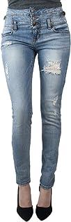 Eunina Jeans Women's High Waist Stretch Skinny Denim Jean 3 Distress Light Wash