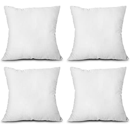 Amazon Com Moonrest 4 Pack Synthetic Down Square Pillow Insert Form Sham Stuffing 100 Down Alternative Microfiber Lined With Woven Cotton Cover For Throw Pillow Sofa Couch Cushion Set Of Four 22 X
