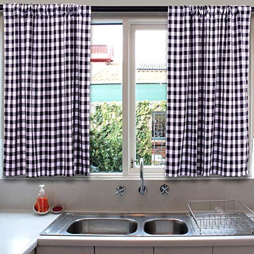 Living Room Curtains, Farmhouse Curtains, Kitchen Curtains, 36 inch Curtains, Buffalo Check Curtains, Bedroom Curtains, Window Curtains, Cafe Curtains, Basement Window Curtains, Black and White