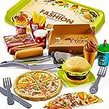 LINFUN KIDS Lebensmittel Spielzeug Küchenspielzeug aus Plastik, Kinderküche Zubehör Hamburger Pizza, Rollenspiele Lernspielzeug Geschenk für Kinder