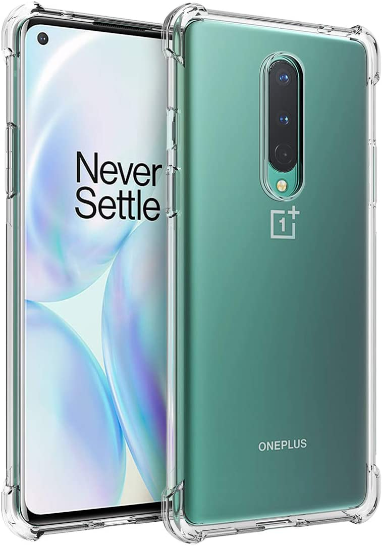 Osophter for Oneplus 8 Case Clear Transparent Reinforced Corners TPU Shock-Absorption Flexible Cell Phone Cover for One Plus 8(Clear)