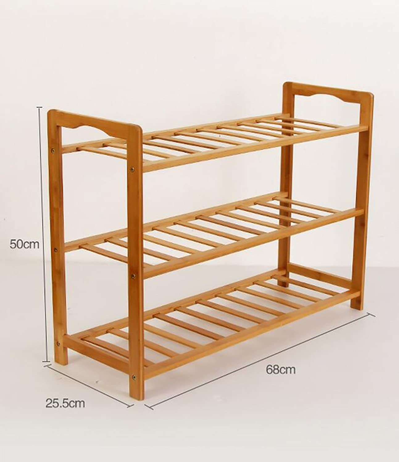 shoes Bench Organizing Rack Bamboo Simple shoes Rack Multi - Storey Dormitory shoes Frame Economic Home Assembly dust - Proof Solid Wood shoes Rack (color   1, Size   68cm)