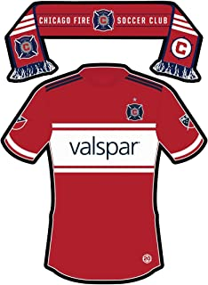 MLS Chicago Fire Sticker - Team Jersey and Scarf. Vinyl, Die-Cut, 3.5 inch, Custom Designed Decal & Gift. Use on Water Bottles, Laptops, Coolers, Car and Truck Bumper. All-Weather Waterproof.