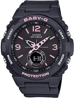ساعة انالوج بعقارب ورقمية بسوار راتنج للنساء من كاسيو Baby-G - اسود وبينك