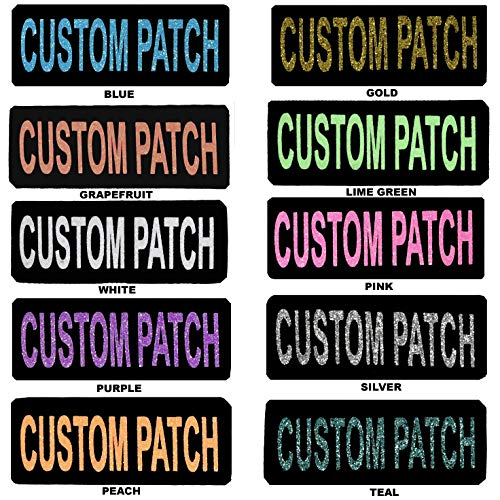 Dogline Custom Patch with Glitter Letters for Dog Vest Harness or Collar Customizable Bling Text Personalized Patches with Hook Backing Name Agility Service Dog ESA 2 Patches B Purple Text