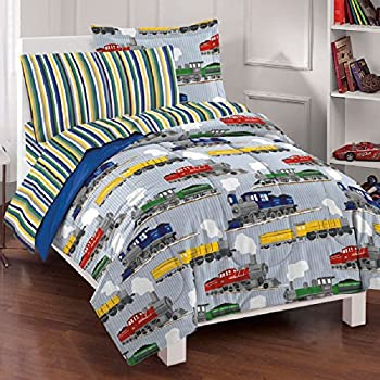 7 Piece Colorful Speedy Trains Patterned Sheet Set Full Size Featuring Geometric Horizontal Stripes Vibrant Vintage Style Train Bedding Modern Bed in A Bag Artistic Design Kids Bedroom Multicolor