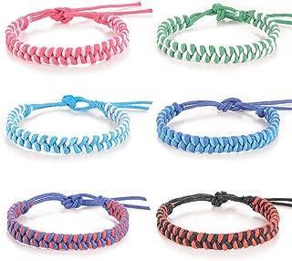 Waterproof Friendship Anklet Bracelet for Women Girls Handmade Braided Surf Bracelets 6 Pcs Cute Jewelry Set Cuff Wrist Anklets Gift
