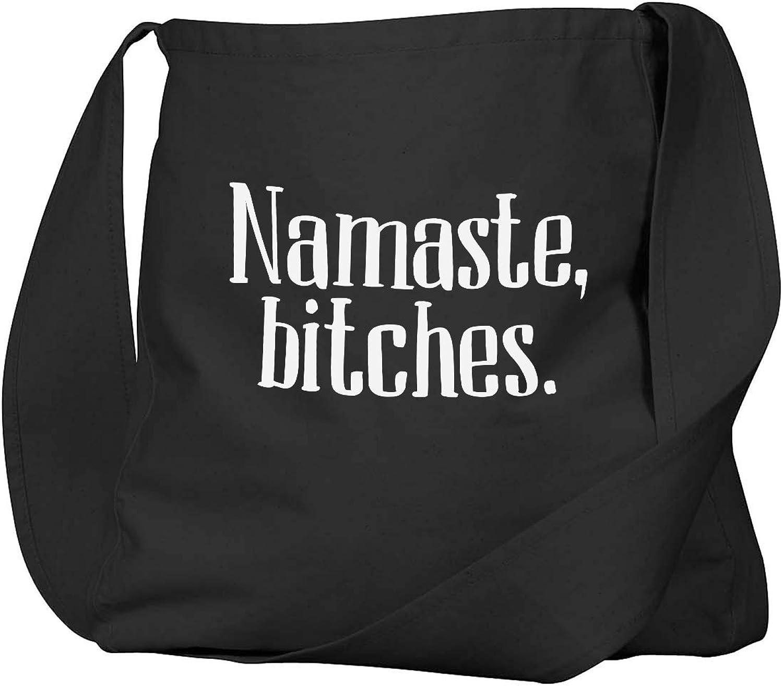 Funny Namaste, Bitches Yoga Parody Black Canvas Satchel Bag