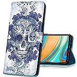 MRSTER Oppo Reno 4 Pro 5G Handytasche, Leder Schutzhülle Brieftasche Hülle Flip Hülle 3D Muster Cover Stylish PU Tasche Schutzhülle Handyhüllen für Oppo Reno4 Pro 5G. YB Blue Skull