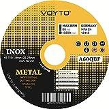 Discos de corte de acero inoxidable - discos de corte de metal, paquete de 10 de alta calidad, ultrafinos 115 mm x 1,0 mm, sierra circular amoladora angular