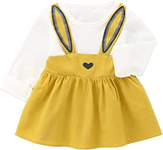Wiwsi Toddler Clothes Newborn Baby Girls Rabbit Ear Heart Strap Casual Dresses