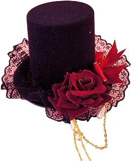 misaki ゴスロリ 帽子 薔薇 十字架 レース ヘアクリップ Lolita ミニハット ロリータ 髪飾り コスプレ チャーム付き 吸血鬼 茶話会 cos 赤&黒