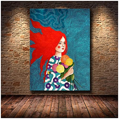 Xiangll Chica Pelo Flor Mujeres Vintage Abstracto Pared Arte Lienzo Pintura Moda Nórdico Cartel Pared Imágenes Para Sala De Estar Impresión En Lienzo-50X70Cm Sin Marco