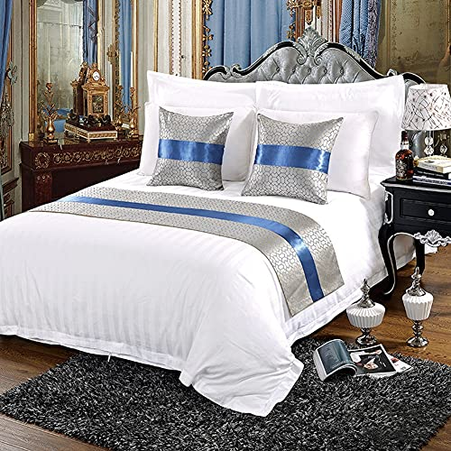 Mrzyzy Bed Runner Suave y Lujoso Decorativo y Protector Moderno Europeo Impresión Reactiva Abstracta Geométrica Simple de Estilo y Teñido Camas de Habitación de Hotel Colcha de Lujo