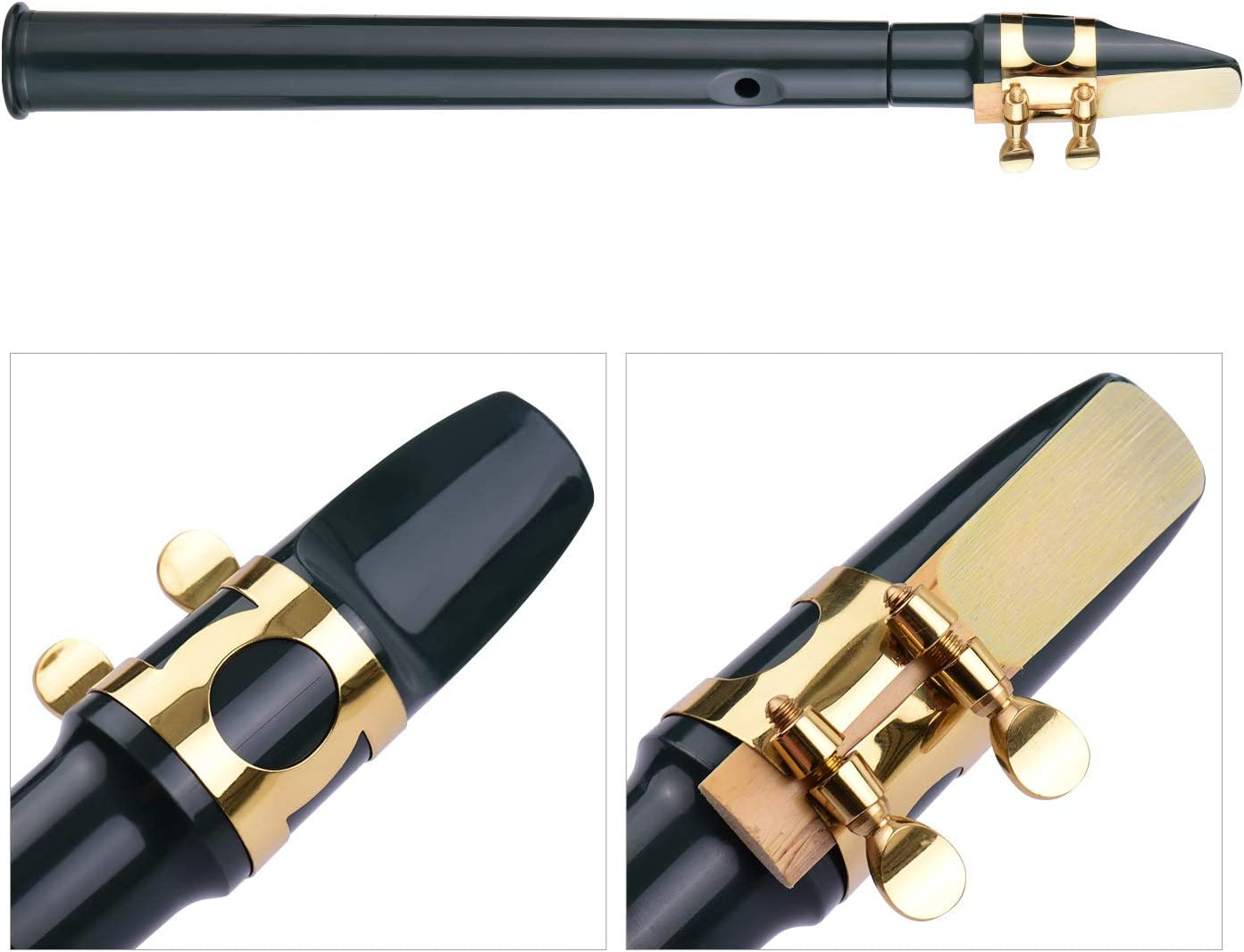 8-hole Mini Pocket Saxophone ABS with Alto Mouthpiece Ligature Reeds Dental Pads Finger Charts Cleaning Cloth Carrying Bag