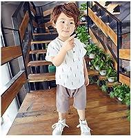 ベビー Tシャツ ロングパンツ ハロンパンツ 上下 2点セット 赤ちゃん 半袖 幼児 子供服 ランドネック Tシャツ カジュアル ツーピース  (115, F)