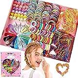 Arlando Mädchen Haarschmuck Set, 780 Stück Baby Haargummis Set, Haarspangen Haarnadeln, Mini Haarclip, Haarseile, Haarbänder, Elastische Gummibänder, Rosa Geschenkbox für Mädchen Baby Kinder