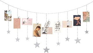 Mkono Hanging Photo Display Wood Stars Garland with Chains Picture Frame Collage with 25 Wood Clips Wall Art Decoration for Home Office Nursery Room Dorm Holiday Card Display, Silver