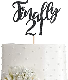 21 Black Glitter 21st Birthday Cake Topper, Finally 21 Birthday Party Cake Topper Decorations, Supplies