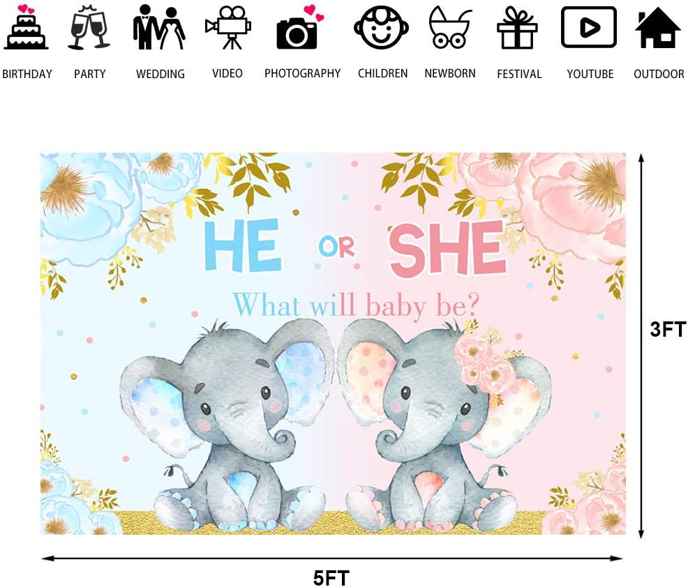Elephant Gender Reveal Baby Shower Photo Backdrop Pink or Blue Elephant Flower Background He or She What Will Baby Be Newborn Baby Party Decorations Banner Supplies Photo Studio Props 7x5ft