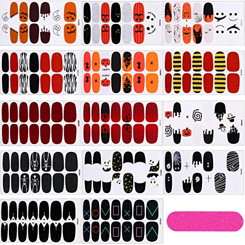 14 Sheets Halloween Nail Art Stickers Adhesive Nail Decals Strips Halloween Nail Wraps with Nail Buffer and Files for Women Girl Halloween Decoration (Skeleton Ghost Style)