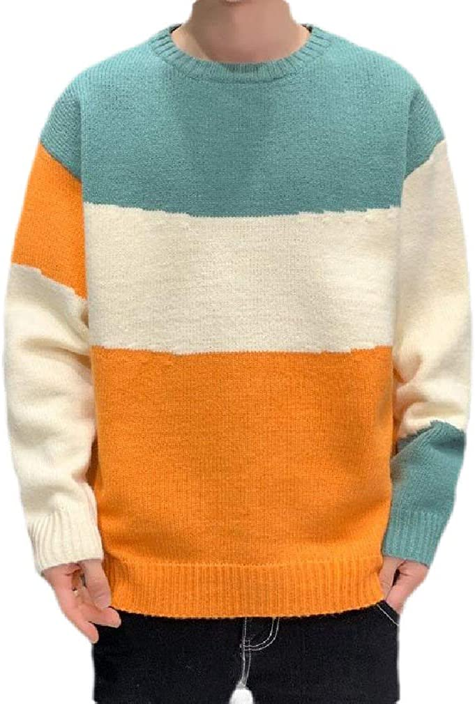 BowenfaU Men's Loose Fit Contrast Color Knitted Fashion Crew Neck Pullover Sweater