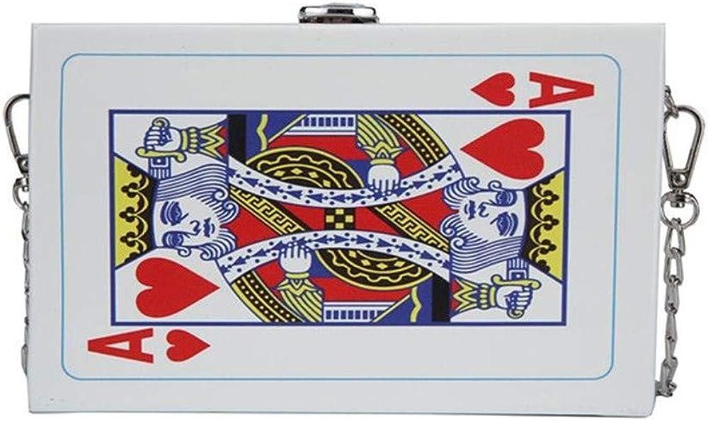 Unique Vintage Poker Print Cross-Body Bag Women Clip Clasp Shoulder Bag Handbag