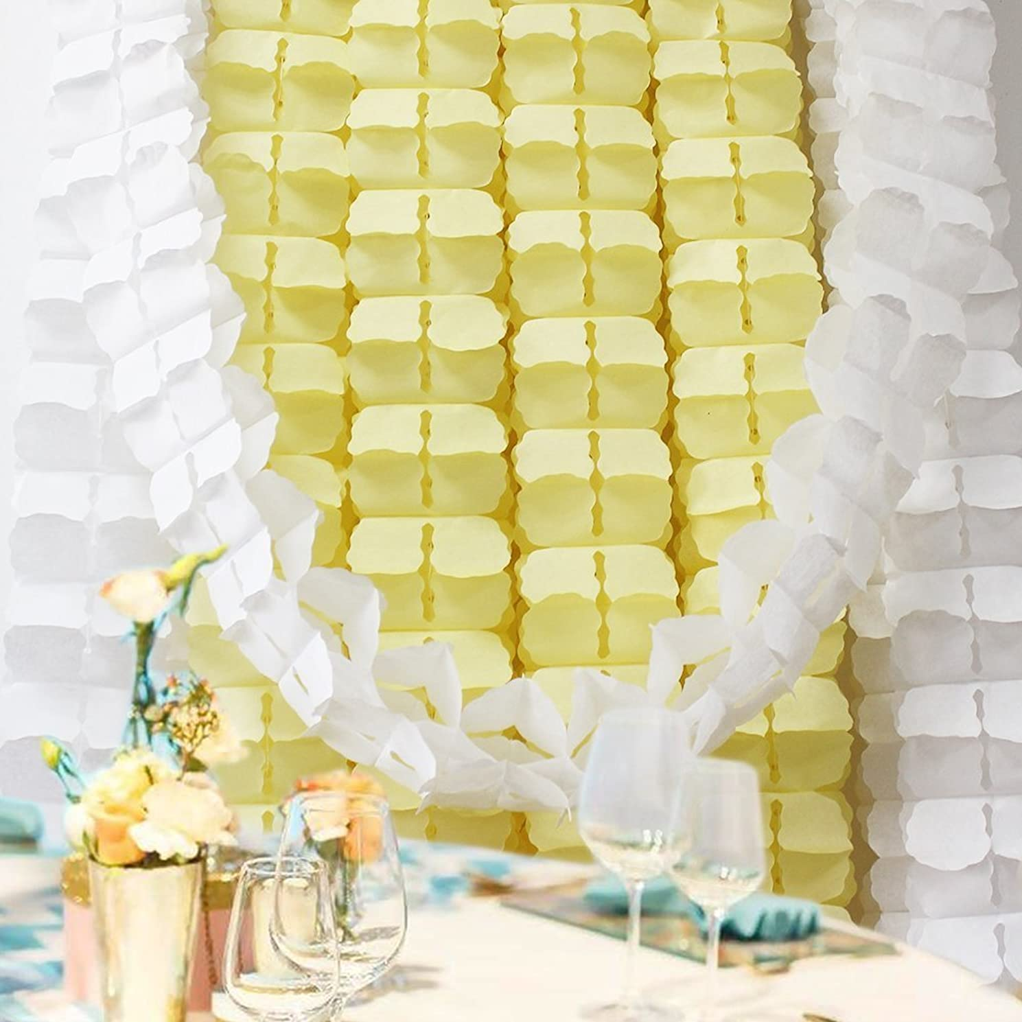 6 Pieces 11.8 Feet 4-Leaf Hanging Clover Garland Tissue Paper Flowers Garland Reusable Party Streamers for Party Decorations Wedding Decorations (Yellow)