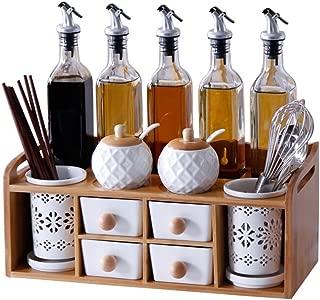 Kitchen shelf/double spice box/glass oil bottle combination/ceramic sealed jar/chopstick holder/salt sauce vinegar bottle/seasoning bottle