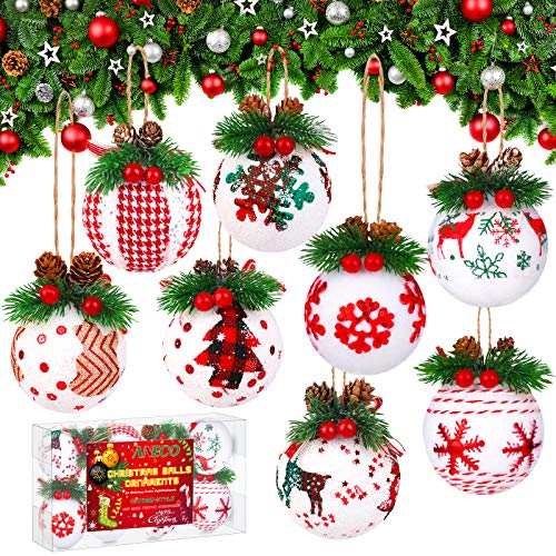 Aneco 8 Pieces Christmas Ball Ornaments Foam Hanging Decorations Xmas Ball with Elk and Snowflake Pattern Assorted Styles Festive Embellishments for Christmas Decor