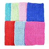 BERON Pack of 7 9 Inch Handmade Baby Girl Silk Crochet Tutu Tube Top Chest Wrap for Toddler Infants(AID04-B)
