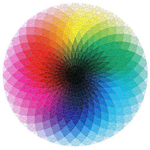 SUNASQ Gradient Rainbow Jigsaw Puzzle, 1000Pcs / Set Paleta de Rompecabezas de Colores de cartón Redondo Juego Educativo, Intelectual y Relajante, Divertido para niños y Adultos.