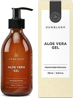 Junglück Aloe Vera Gel aus 95% Bio Aloe Vera   250 ml in Braunglas   Feuchtigkeitspflege für gesunde & schöne Haut   Vegane Naturkosmetik Made in Germany