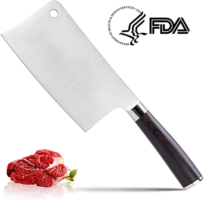 Meat Cleaver CUSIBOX 7 Inch Chief Knife Professional Butcher Knife Cleaver Knives Vegetable Cutter Heavy Duty Chopper High Carbon Stainless Steel Knife